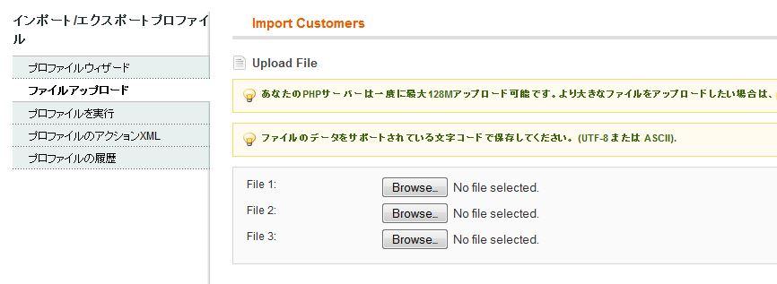 2015-04-09 17_11_07-Import Customers _ プロファイル _ インポートとエクスポート _ システム _ Magento管理画面