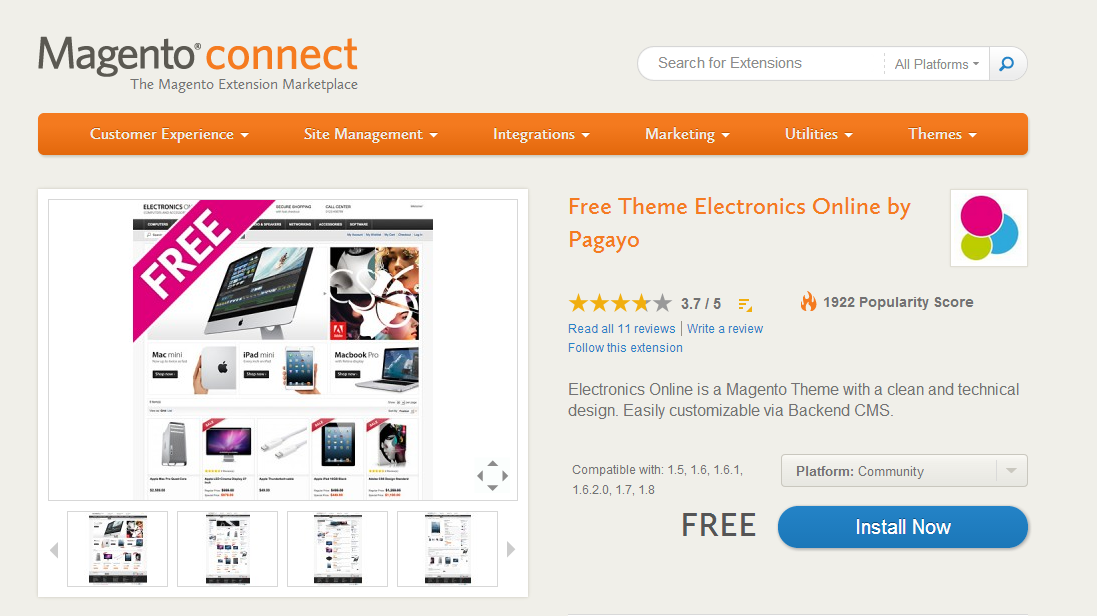 2013-11-08 18_20_19-Free Theme Electronics Online by Pagayo - Themes - Magento Connect